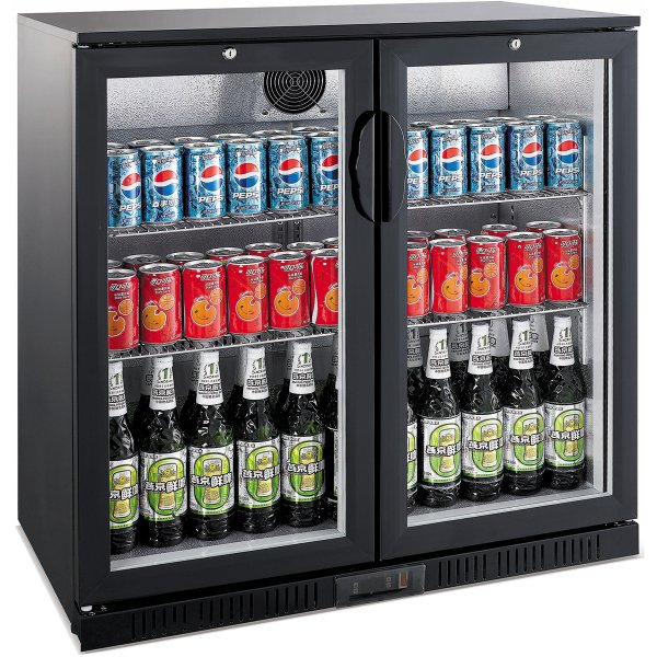 Back bar cooler 2 hinged doors 208 litres Black | Adexa LG208H