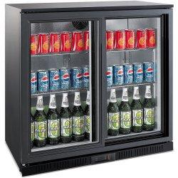 Back bar cooler 2 sliding doors 208 litres Black | Adexa LG208S