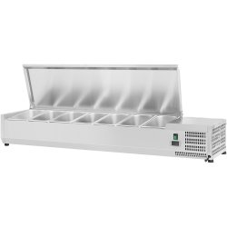 Refrigerated prep top 1500mm 7xGN1/4 Depth 330mm Stainless steel lid | Adexa VRX1500/330 S/S