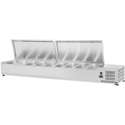 Refrigerated prep top 1800mm 9xGN1/4 Depth 330mm Stainless steel lid | Adexa VRX1800/330 S/S