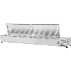 Refrigerated prep top 2000mm 10xGN1/4 Depth 330mm Stainless steel lid | Adexa VRX2000/330 S/S