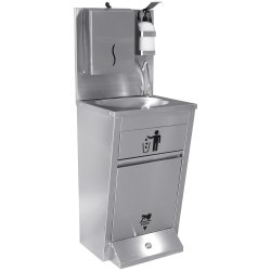 Handwash Station with Waste basket & Napkin dispenser & Soap dispenser holder Foot operated Stainless steel Height 1350mm | Adexa AYK002