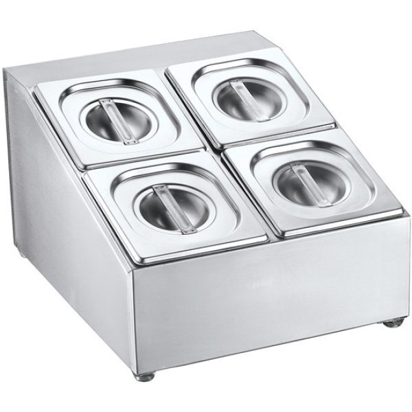 Commercial Condiment Holder including 4xGN1/6 pans & lids   Adexa CHD04B