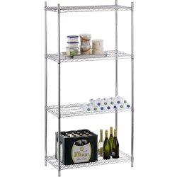Commercial Shelving unit 4 tier 800kg Width 900mm Depth 450mm Chrome wire | Adexa CR9045180A4