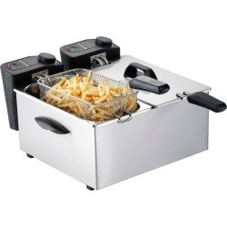 Commercial Fryer Countertop Double tank 3.5+3.5 litres 4kW | Adexa DF35BT2