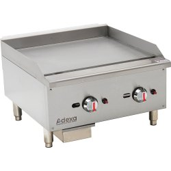 Premium Commercial Gas Griddle Smooth plate 2 burners 15kW Countertop | Adexa EGG24S