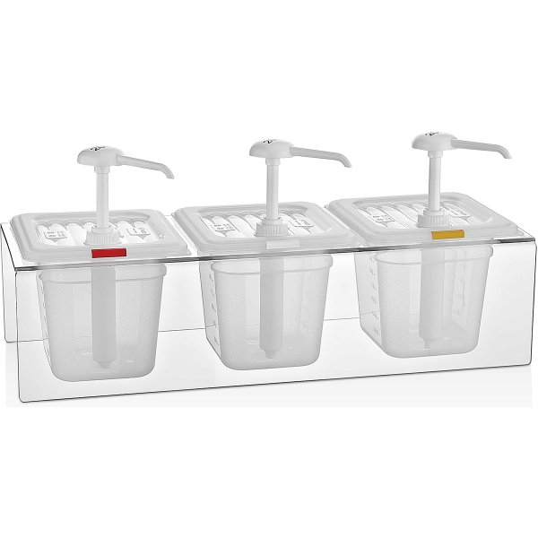 Condiment/Sauce Dispenser with Stand 3x2 litre pumps Plastic | Adexa GDP03