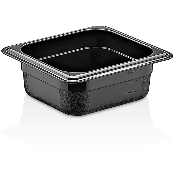 Polycarbonate Gastronorm Pan GN1/6 Depth 65mm Black 0.75 litres | Adexa GNP1665B