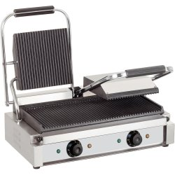 Heavy Duty Twin Panini Contact grill 3.6kW Ribbed | Adexa EG03A