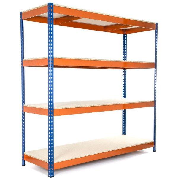 Industrial Shelving Unit Heavy duty 1200x450x1800mm 4 shelves 500 kg/shelf Powder coated steel | Adexa H12045