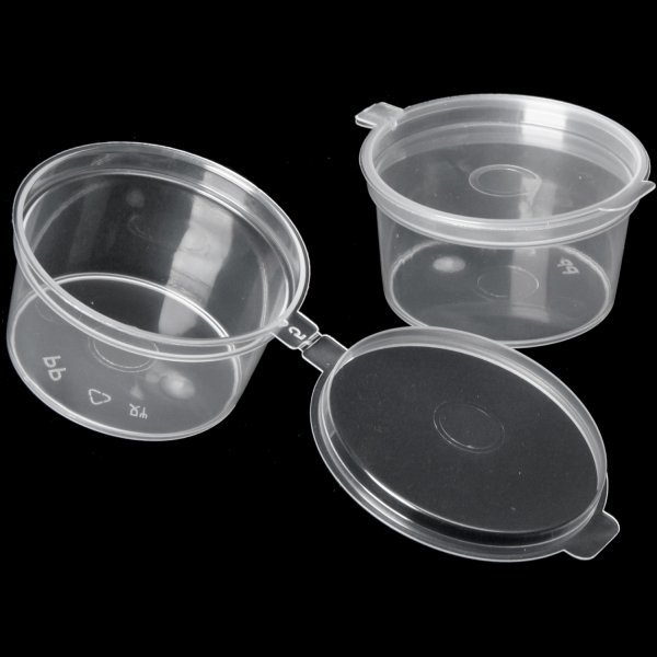 1000pcs Plastic Sauce Cup with Hinged Lid Clear 1.5oz/42ml   Adexa JLB1