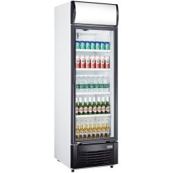 Commercial Bottle cooler Upright 332 litres Fan assisted Hinged glass door Black/White | Adexa LG332B