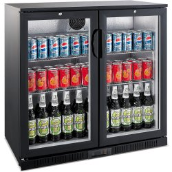 Back bar cooler 2 hinged doors 208 litres Black | Adexa LG208H