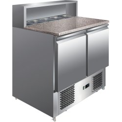 Pizza Prep Table 2 doors Stainless steel Pizza top 5xGN1/6 Depth 700mm | Adexa PZ22