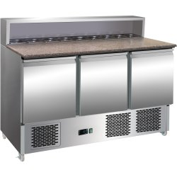Pizza Prep Table 3 doors Stainless steel Pizza top 8xGN1/6 Depth 700mm | Adexa PS903