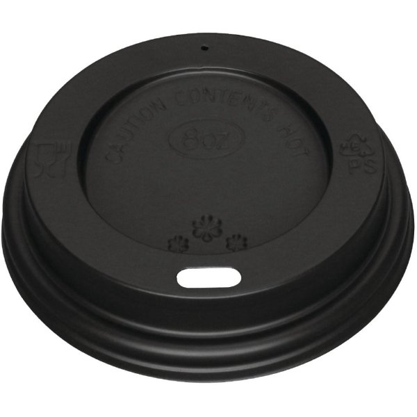 Compostable Coffe Cup Lids for 8oz cups Black | Adexa PSL8B