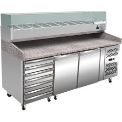 Pizza Prep Counter 2 doors 7 drawers Granite top Refrigerated Counter top display 10xGN1/4 Depth 800mm | Adexa PZ46+PT46