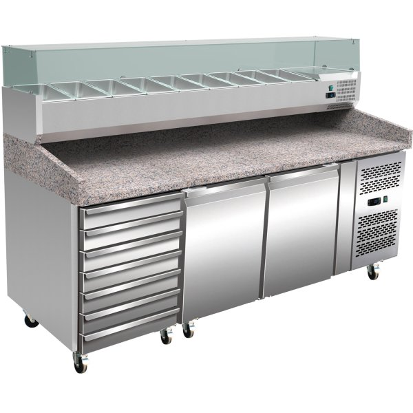 Pizza counter 2 doors 7 drawers Granite top Refrigerated counter top display 10xGN1/4 Depth 800mm | Adexa PZ2610TN + VRX2000