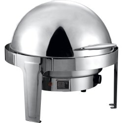 Roll top Chafer Electric heating Round Stainless steel Mirror polish 6 litres | Adexa RA2101BE