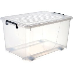 Pack of 8 Plastic Storage Box with Wheels & Lid & Clips 50 litre 560x390x310mm Polypropylene | Adexa S1050