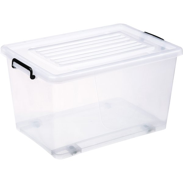 Pack of 8 Plastic Storage Box with Wheels & Lid & Clips 70 litre 630x433x355mm Polypropylene   Adexa S1070