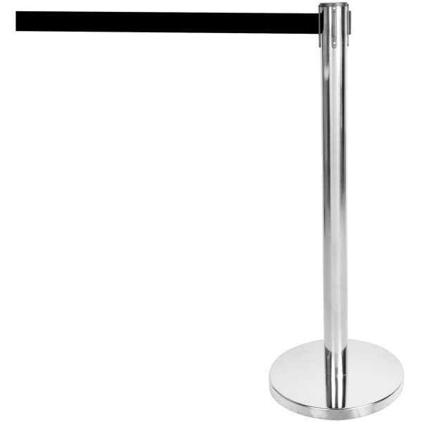 Silver Barrier Post with Black Retractable Belt 2m | Adexa SBP01B