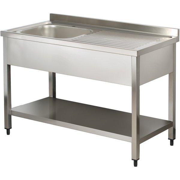 Commercial Sink Stainless steel 1 bowl Left Bottom shelf Splashback 1000mm Depth 600mm | Adexa THSTR106BL1