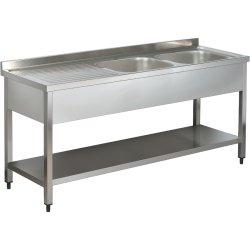 Sink 2 bowls Right Bottom shelf Splashback 1400mm Depth 600mm | Adexa SNB614DR