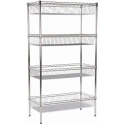 Commercial Wire basket Shelving unit 4 tier 400kg 900x450x1800mm Chrome wire   Adexa WBA9045180A4C